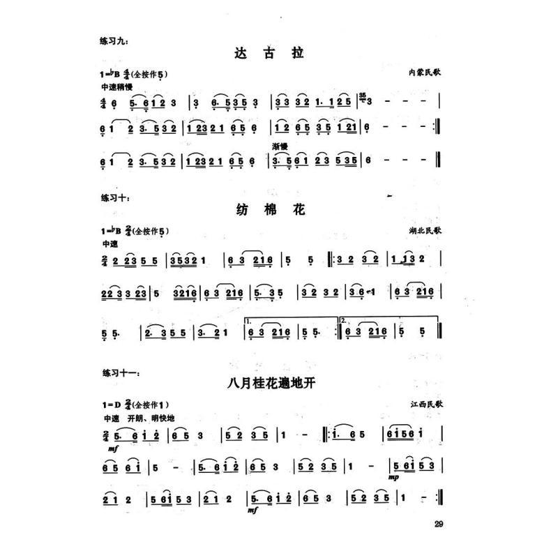 东方红巴乌乐谱