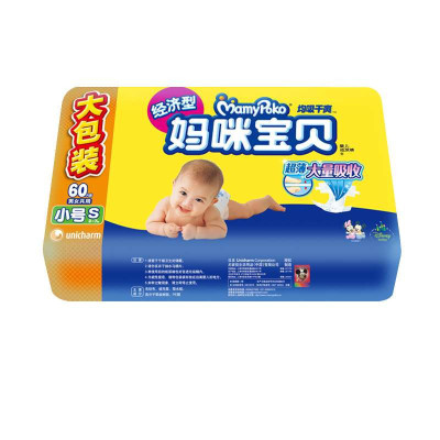 MamyPoko 妈咪宝贝 均吸干爽 纸尿裤 S60片(3-7kg适用) *3包  99.9元包邮(折合33.3元/包)