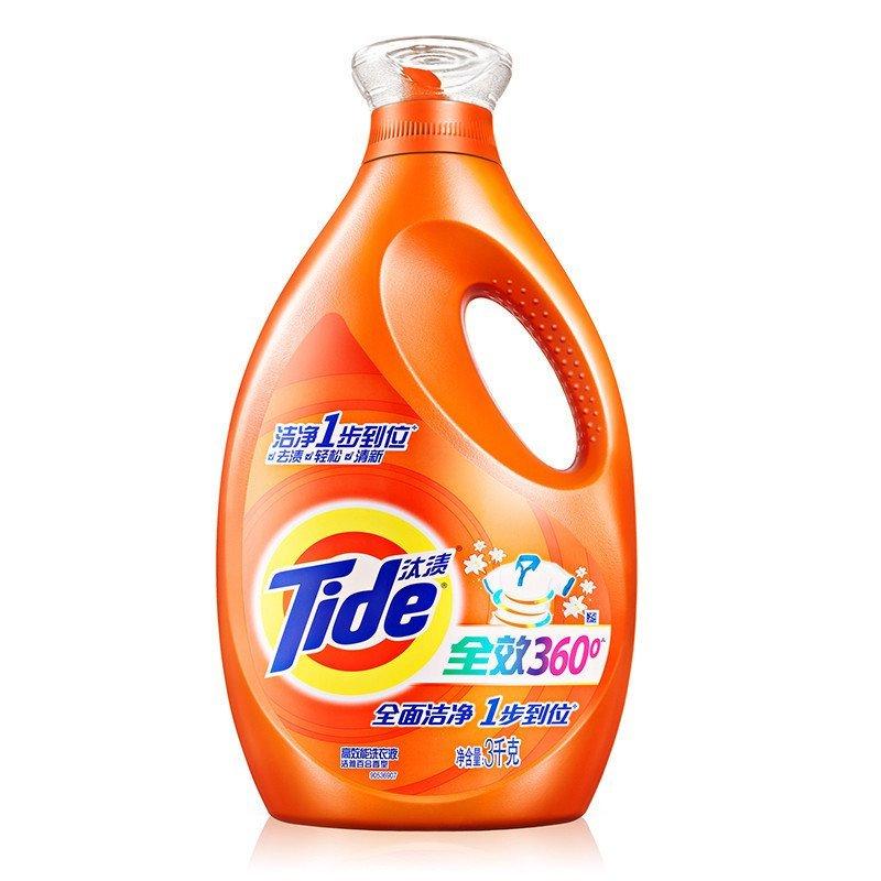 (去渍护色)汰渍(tide)全效360°洗衣液洁雅百合香型 3kg/瓶 宝洁官方