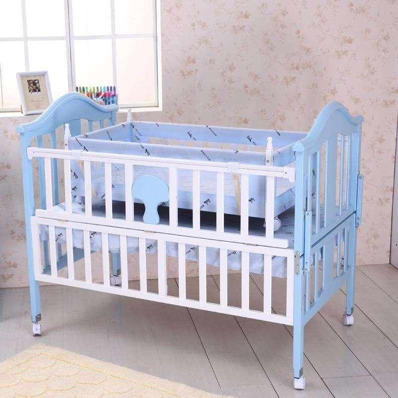 小硕士婴儿床实木儿童床彩色甜美系列送摇篮蚊帐sk-512蓝色高清实拍图