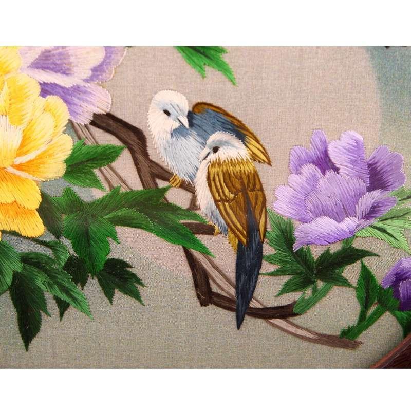 客廳裝飾畫湘繡牡丹 雙面繡純手工刺繡 居家小擺件 20
