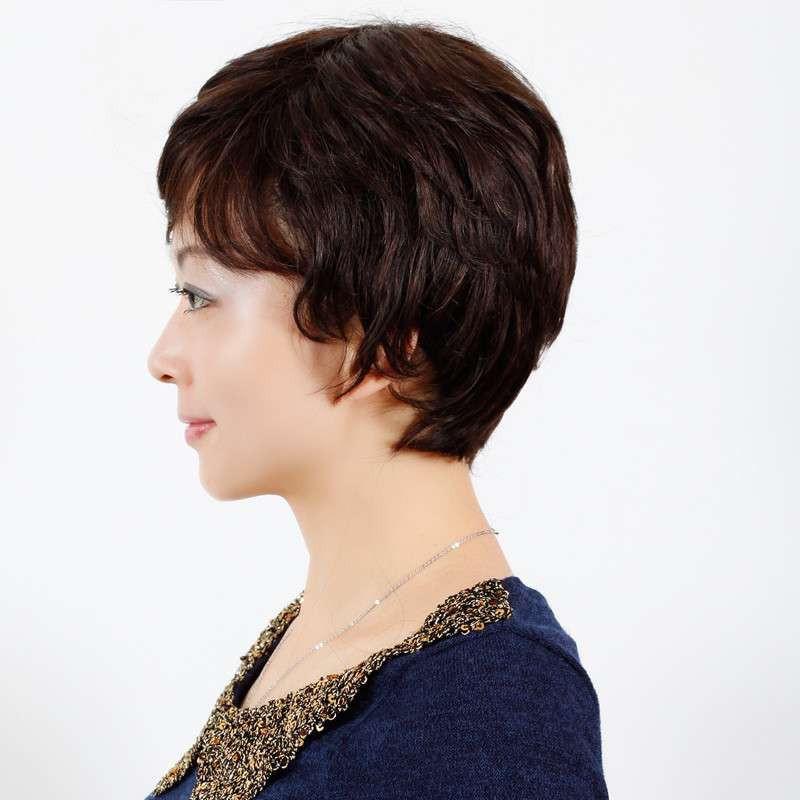 玫瑰雨 妈妈短卷发 假发套 中老年女士假发短发女 气质真发卷发高清