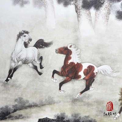 【红泥坊】杨柳青年画 八骏图 中国梦 国画特色 印刷海报 马年必备