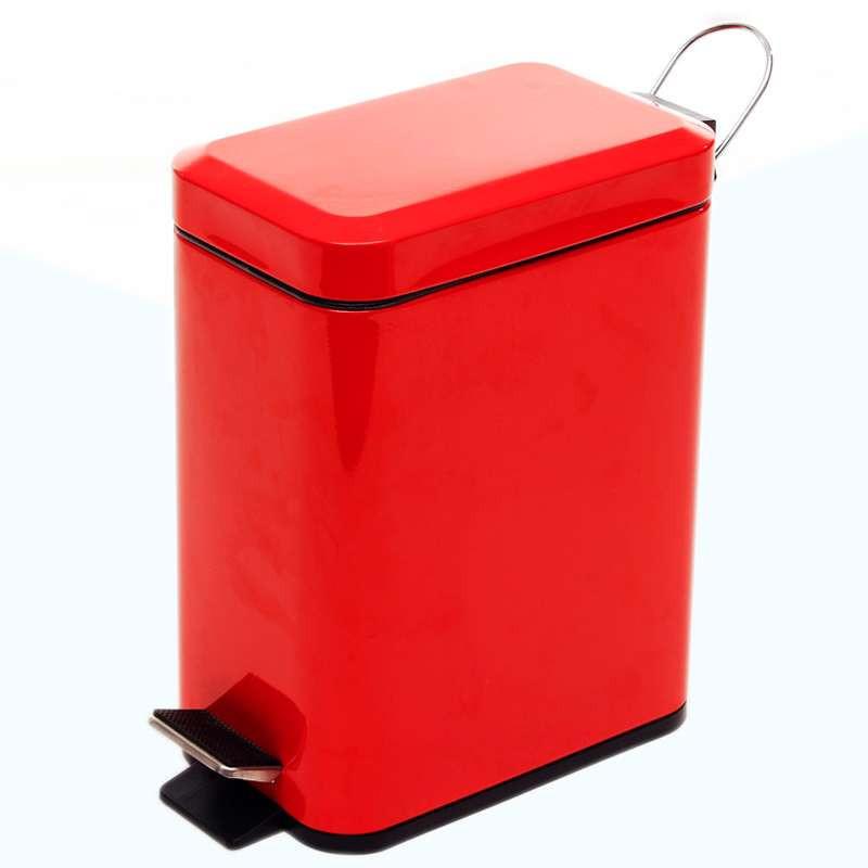 欧润哲长方形脚踏垃圾桶红色5l高清实拍图