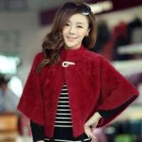 肩短外套富贵吉祥斗篷毛衣纯色 女装 酒红色 均码