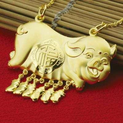 金地珠宝足金十二生肖吉祥金猪黄金套链可爱天蓬元帅项坠婚嫁礼品