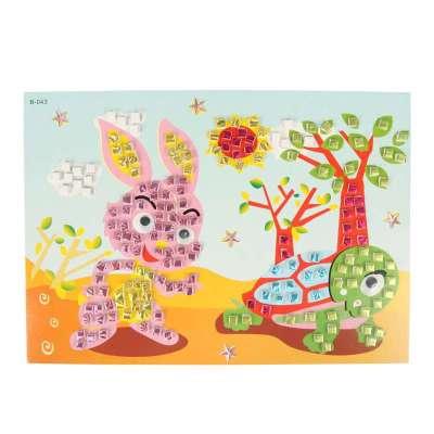 大贸商 3d马赛克立体贴画 卡通手工制作 只售龟兔赛跑款图案 ef01352l