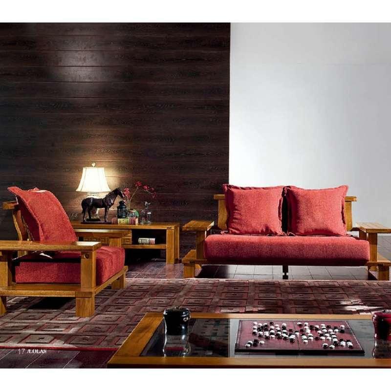 新中式沙发 布艺沙发胡桃木全实木沙发实木