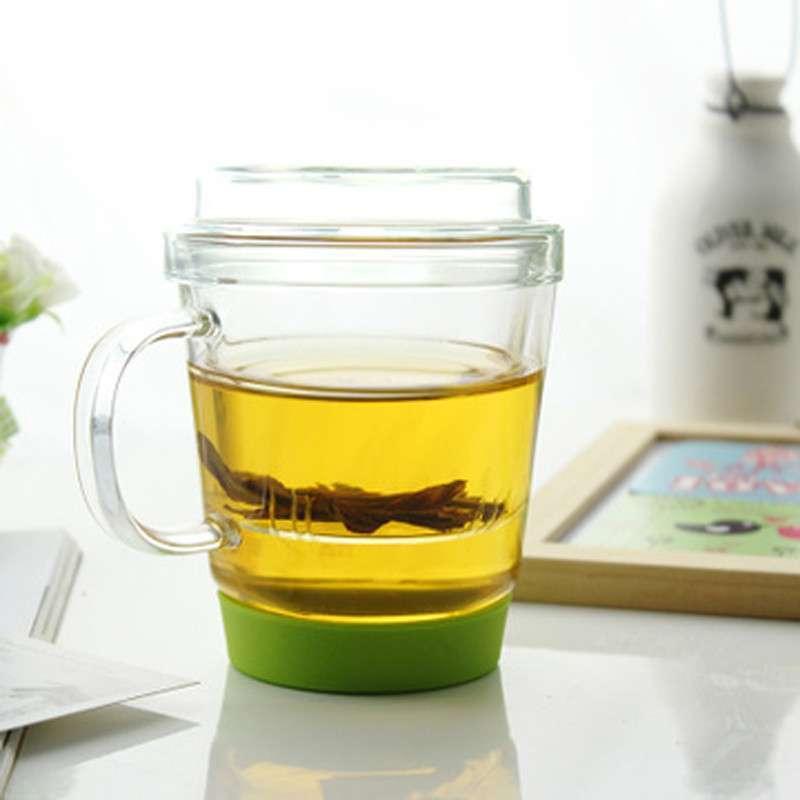 悠家良品 创意带盖茶隔玻璃杯 情侣泡花茶杯子 硅胶防滑底座水杯 绿底