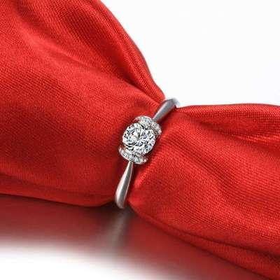 佐卡伊白18k金钻石婚戒女戒指咱们结婚吧剧中明星款 巴黎印象