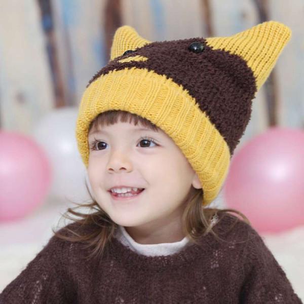公主妈妈儿童冬季帽子 可爱小猫编织套头帽 女童帽 宝宝帽子 毛线帽
