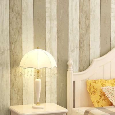 本木板美式乡村壁纸 卧室复古竖条木纹做旧蓝色地中海墙纸无纺布图片