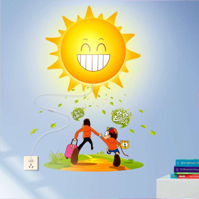 爸爸去哪儿 可爱卡通看日出壁灯 小孩房装饰壁灯 创意