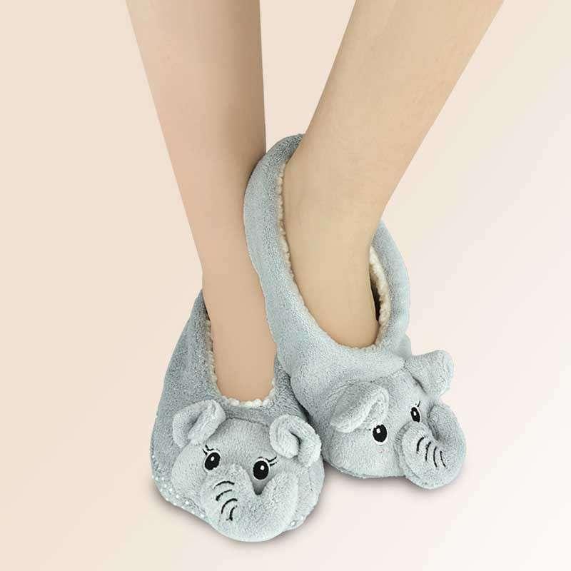 袜袜屋冬季女士甜美可爱卡通小象短筒袜子加厚加绒居家地板袜女袜 浅