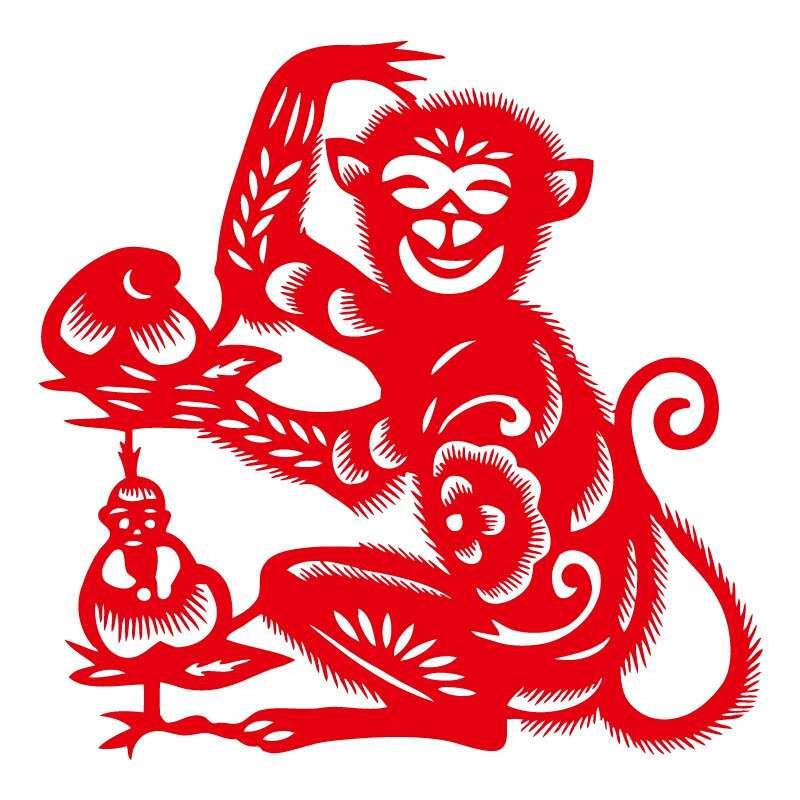 个性一百 猴子献桃ebg1904手工剪纸年画镂空窗花门贴春节马年福字贴装