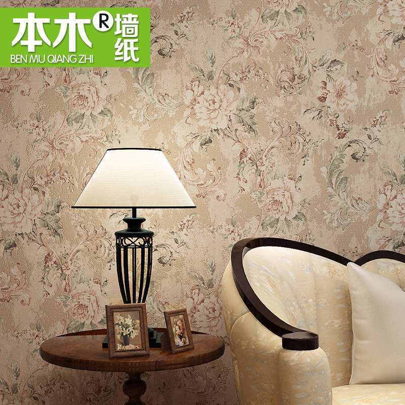本木墙纸复古做旧美式乡村房间时尚个性满铺家装无纺布壁纸卧室图片