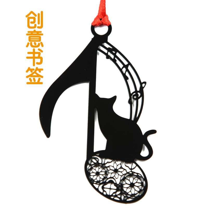 品轩阁 创意书签 可爱萌猫系列 音符猫 镂空金属书签图书礼品贺卡信封