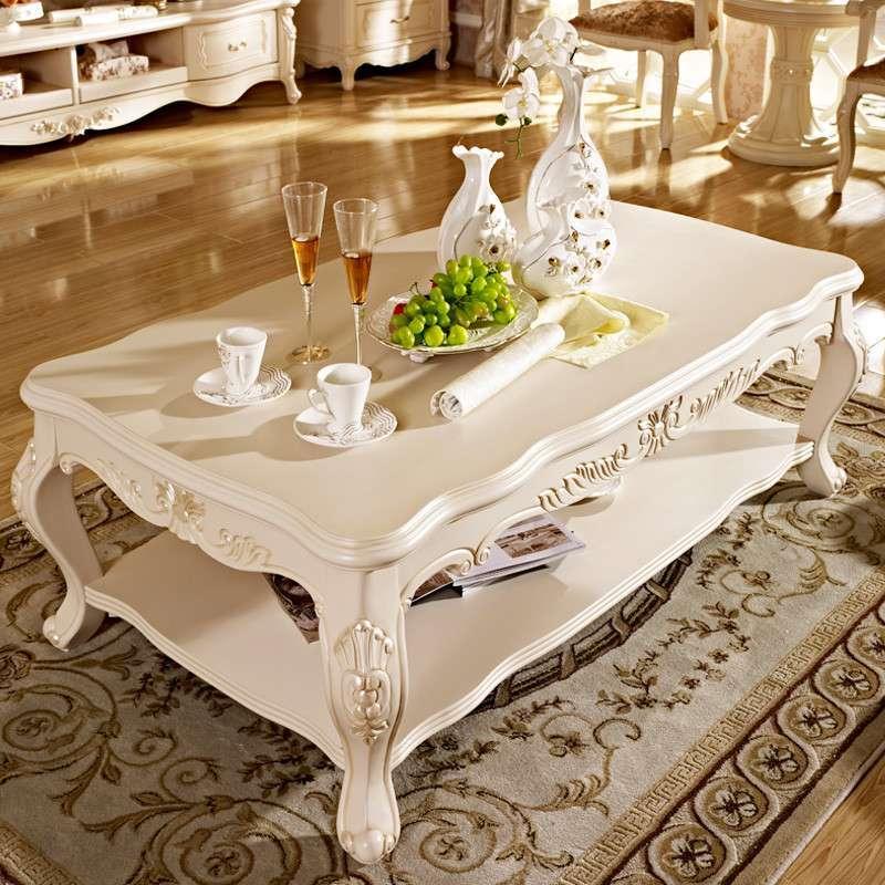 德邦尚品 欧式高档实木长茶几象牙白色双层简约时尚小户型功夫茶桌储
