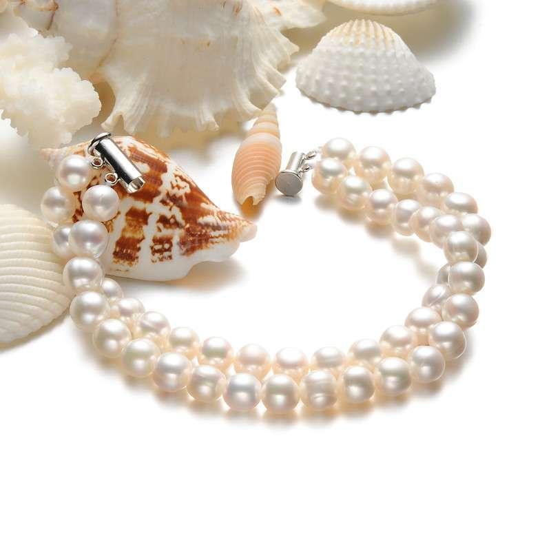 lux-women-天然淡水珍珠双排手链8mm-高贵(附权威鉴定证书)