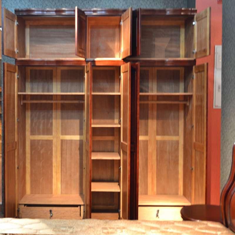 御品工匠 实木大衣柜 五门衣柜加顶柜 组合衣柜 实木家具a12 5门衣柜