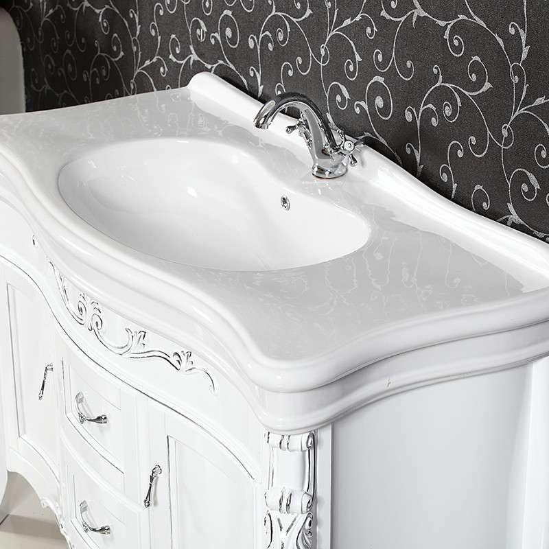 梦佳 大理石欧式浴室柜 实木仿古卫浴柜洗手盆柜 橡木台盆柜