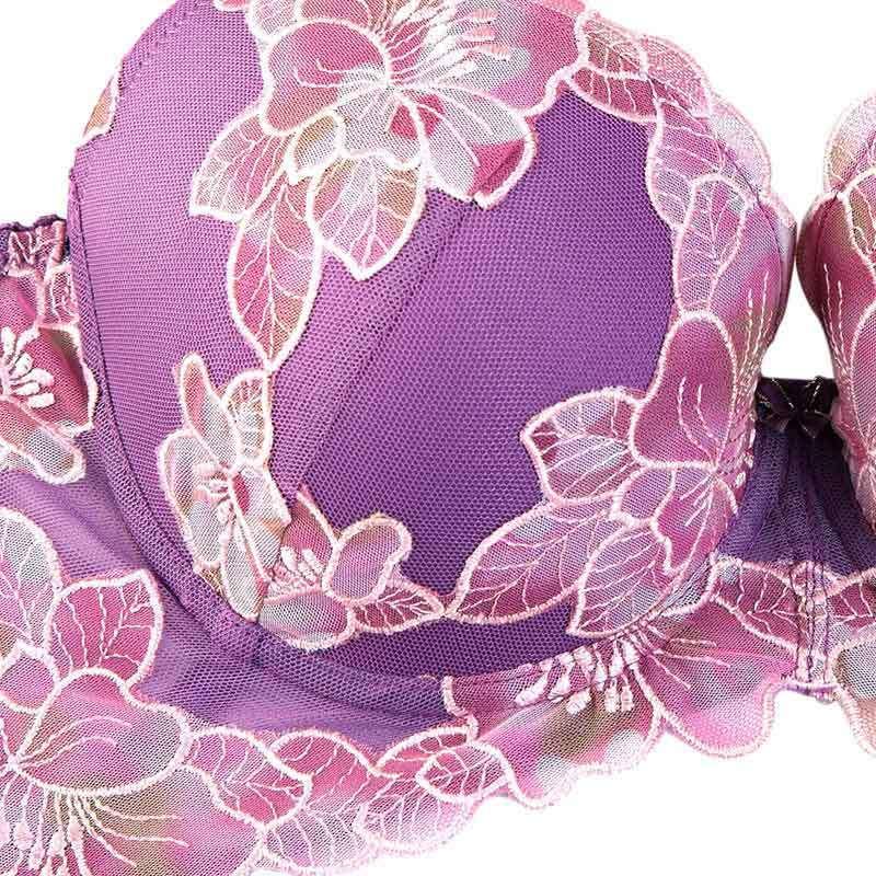微纤诺中模杯内衣荷花刺绣文胸超聚拢调整收副乳女士内衣 粉色紫色可