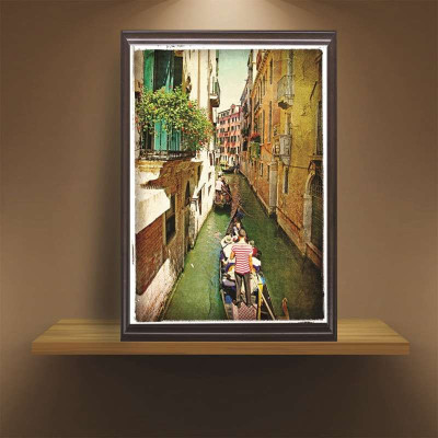 欧式墙画复古装饰画客厅地中海风景挂画组合乡村卧室餐厅建筑壁画40*6