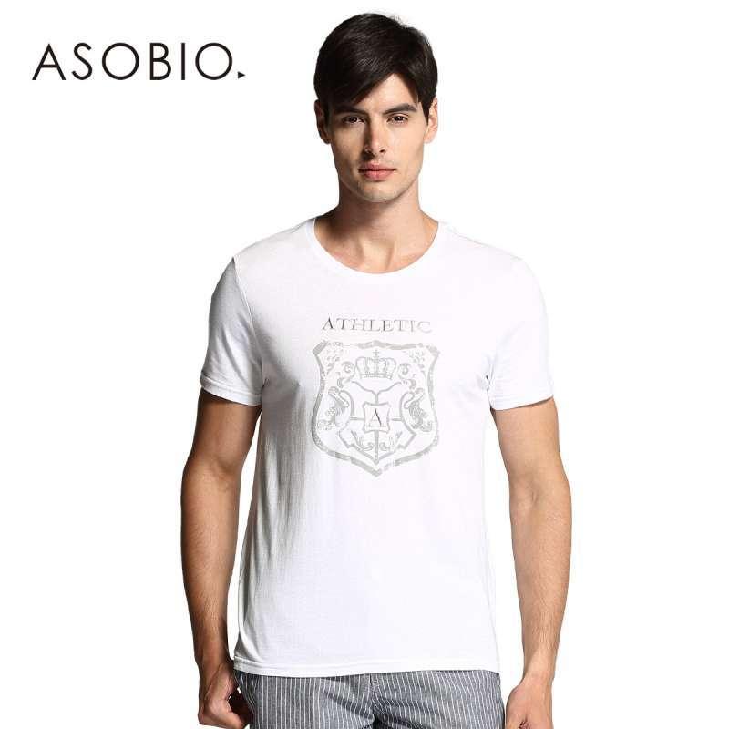 卹�m�#x�F{�Fp_asobio 2014夏季新款男装 青春时尚休闲古典风印花恤
