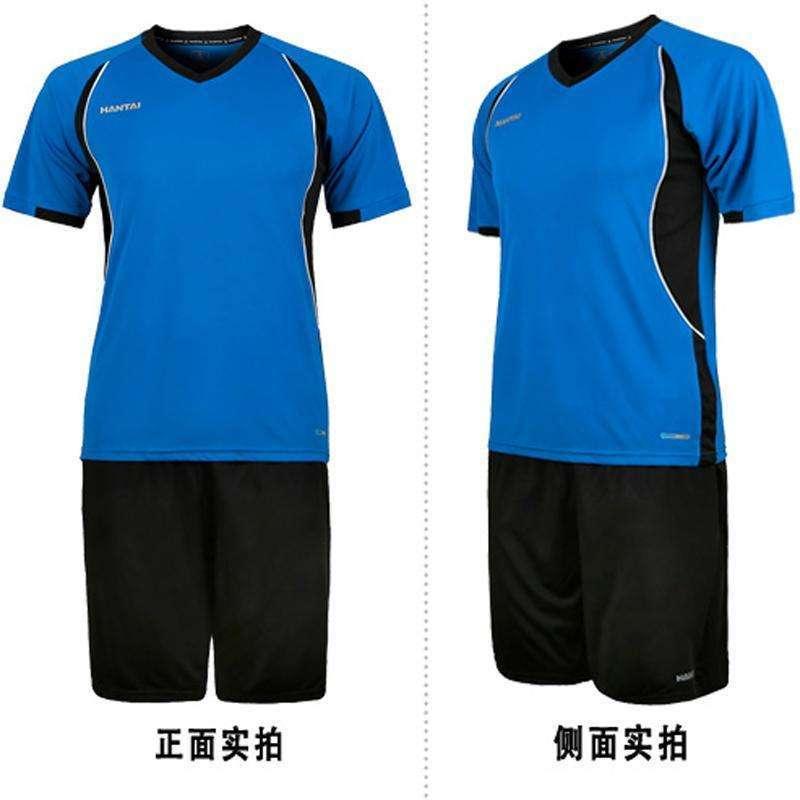 短袖足球服套装正品 比赛 训练球服 光板组队短袖球衣 白蓝 m