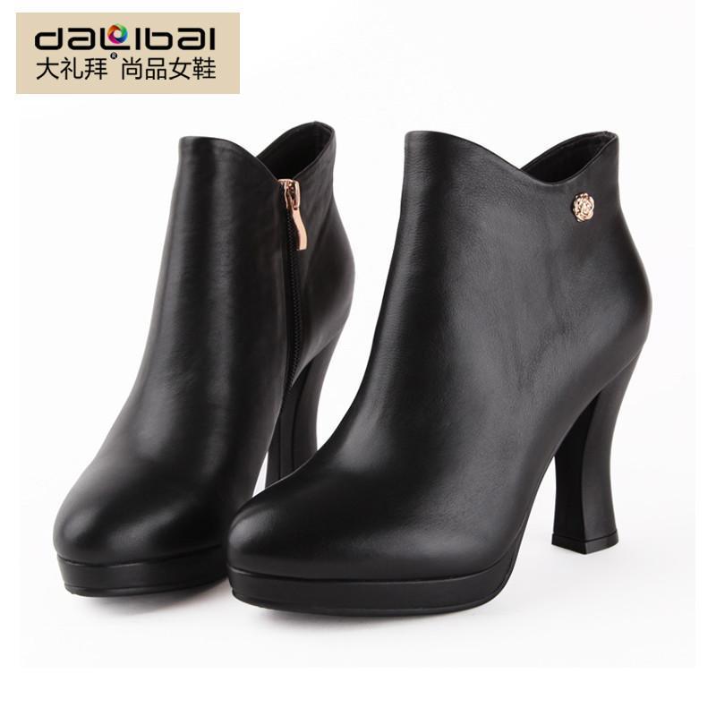 大礼拜女式春秋高跟靴子真皮防水台秋季女款灌鞋短靴