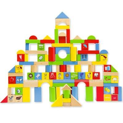 大块粒数字宝宝木头桶装积木木制