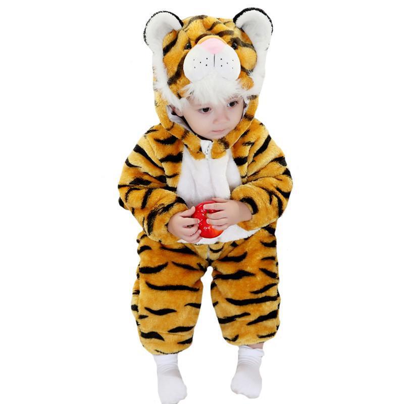 冬季儿童加厚连帽动物造型连体衣/爬服/哈衣黄色老虎