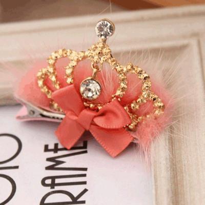 韩版儿童发饰头饰品 公主气质毛毛珍珠皇冠发夹
