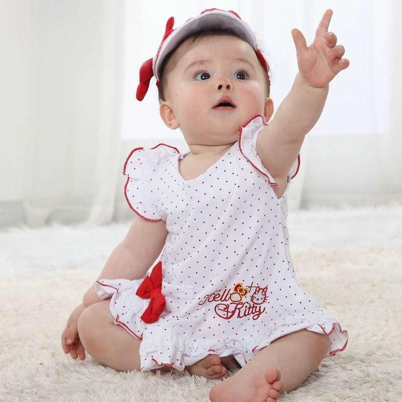 女宝宝可爱绣花纯棉裙子婴幼儿服装夏装女童裙子帽子手带三件套装