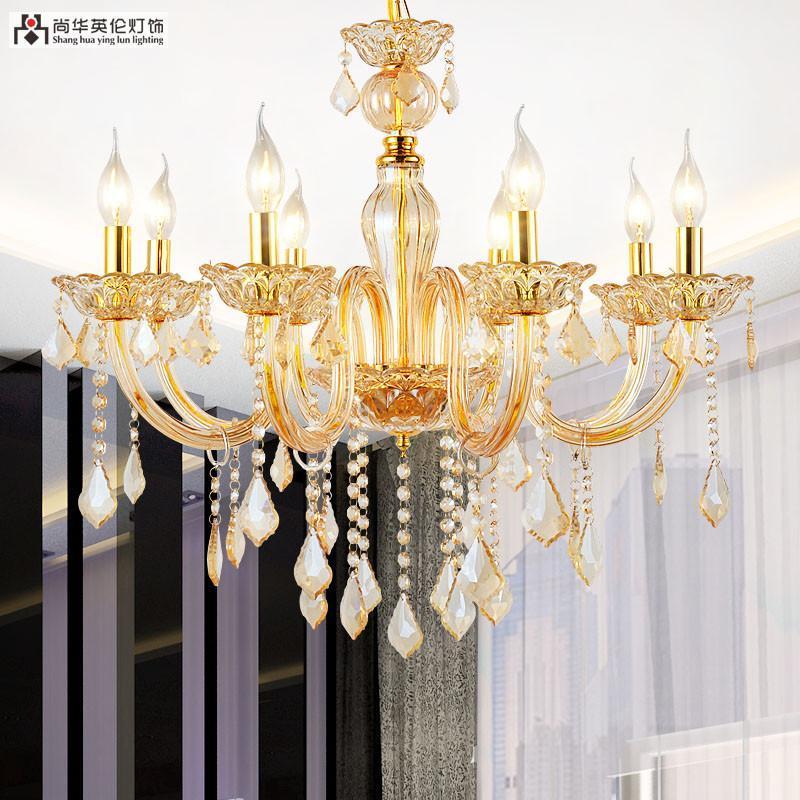 尚华英伦水晶灯 欧式香槟色水晶吊灯饰具 客厅灯水晶灯a4-8头