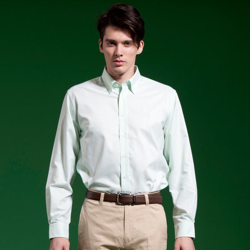 圣大保罗专柜正品男装 纯棉净色春夏长袖衬衫 男衬衣ps11wh004 白色a