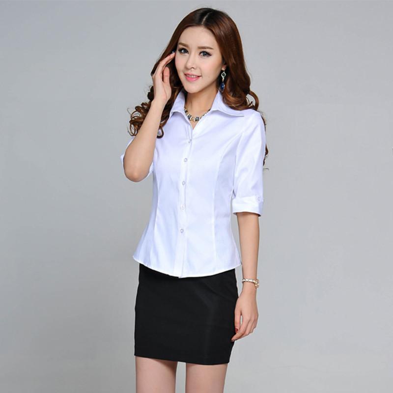 女式中袖衬衫_yc2014夏季女式衬衫翻领中袖职业装修身时尚ol气质短袖衬衫女 白色 s