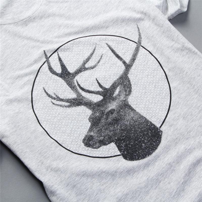 马克华菲 正品 2014年夏装新品男士黑色鹿头印花短袖t恤7132217033093