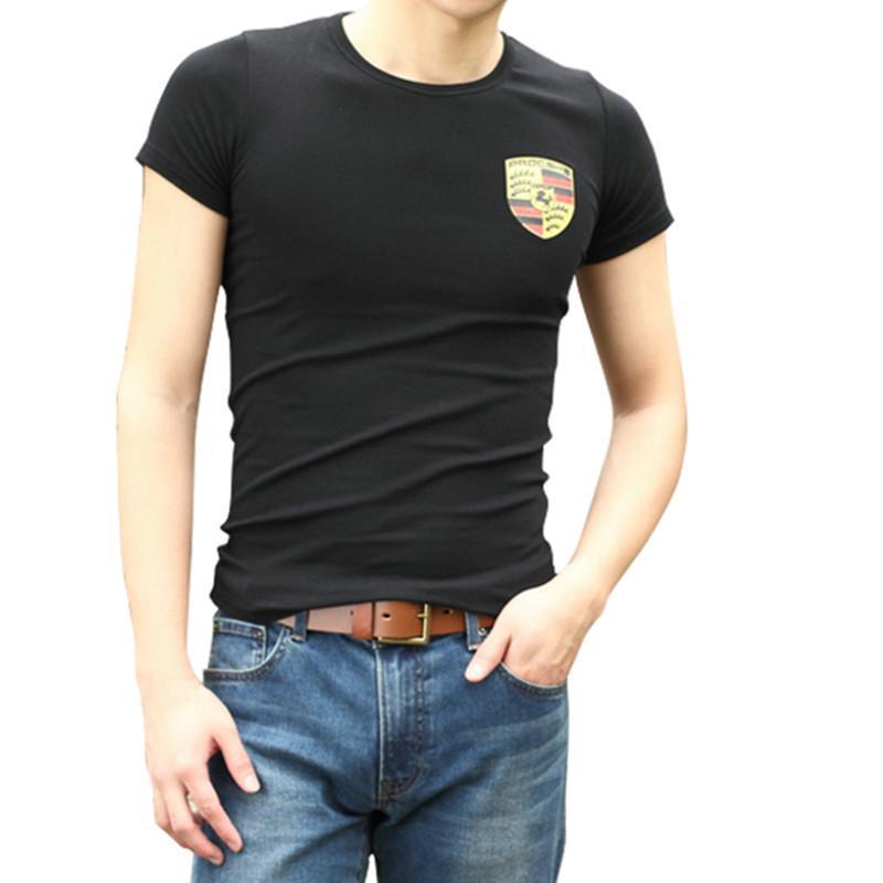 劳茵斯 2014夏装新款男装短袖保时捷标志男士t恤创意男衣服汽车logo服