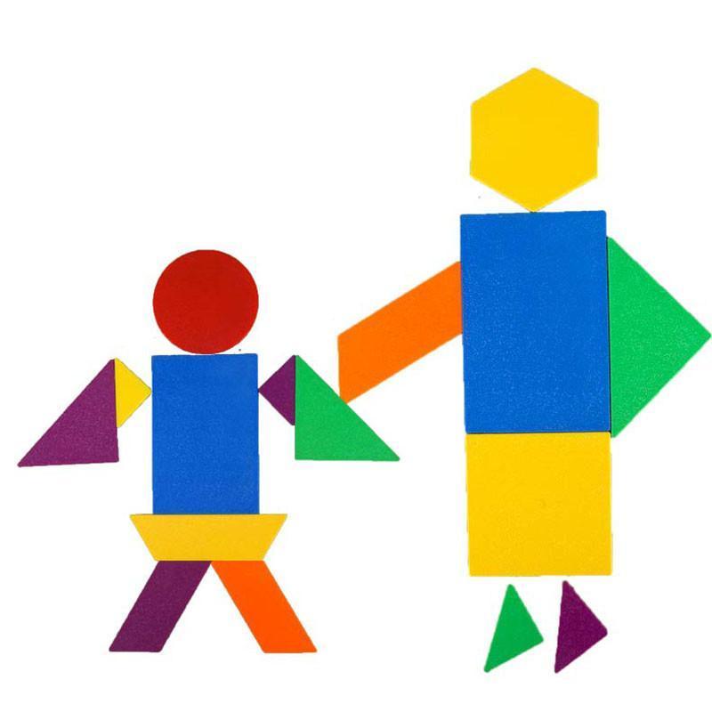 潜力几何巧板桶装 七巧板智力拼图 儿童拼图益智积木 96片