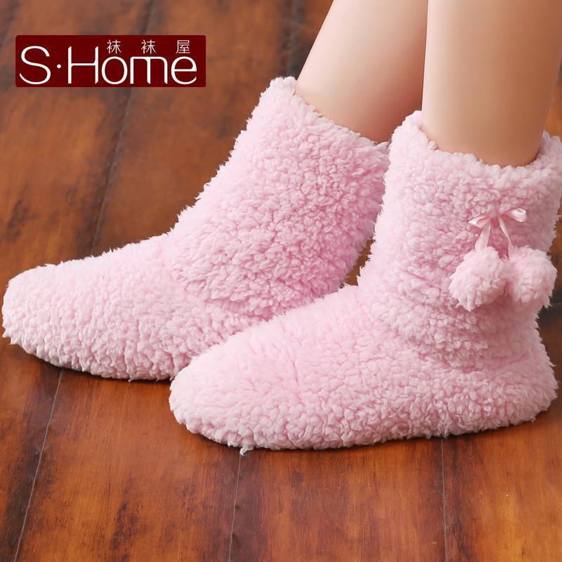 袜袜屋圣诞袜 休闲鞋舞蹈鞋秋冬可爱小清新撞色条纹防滑地板袜中筒袜