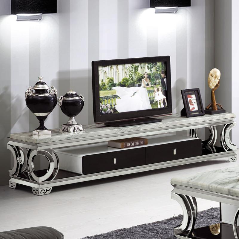 俏夫人高档大理石电视柜欧式不锈钢电视柜双抽屉简约