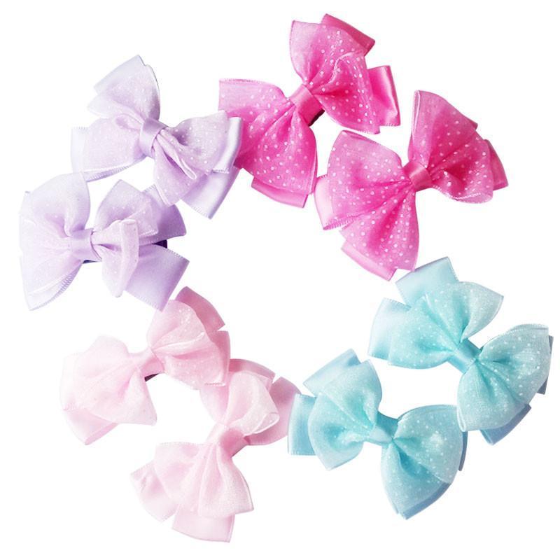 乐婴坊 儿童头饰边夹 韩式蝴蝶结发夹 2个/对单个1元公主蕾丝发夹蝴蝶