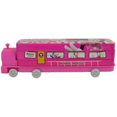 迪士尼可爱创意火车头文具盒铁盒双层带轮子