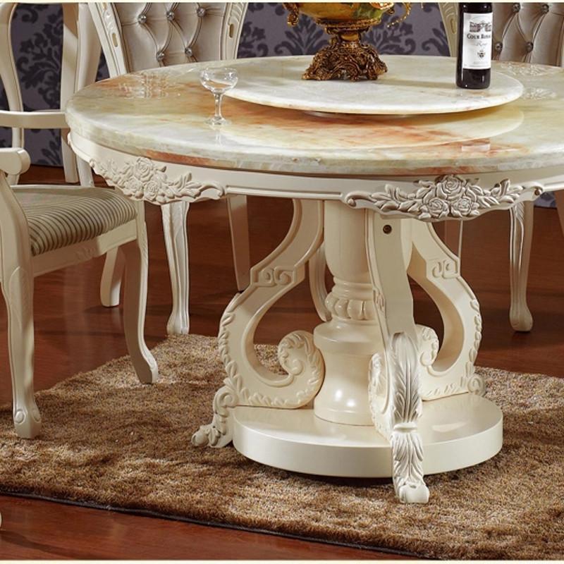 法丽莎家具g1欧式餐桌实木大理石圆桌新古典餐台带