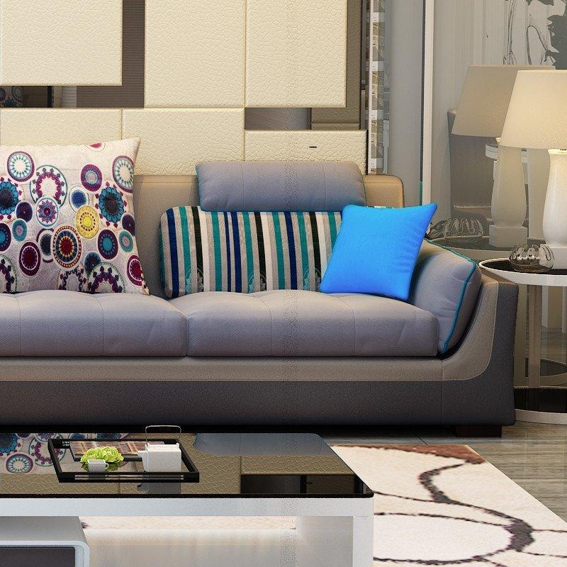 雅琼 布艺沙发组合现代客厅转角沙发 皮布沙发 yqp06 经典咖啡