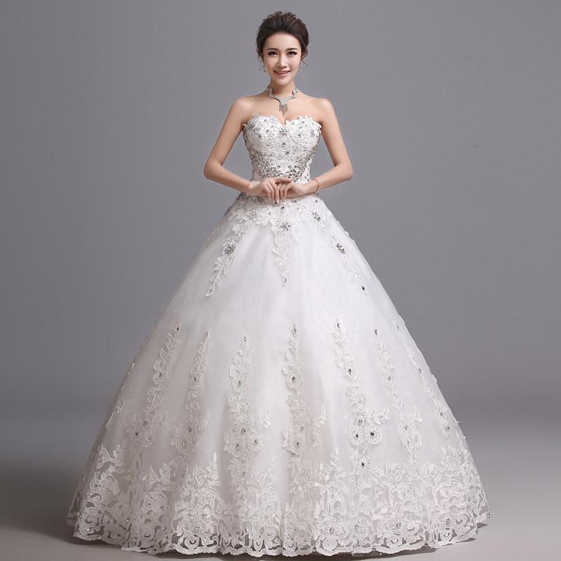 七色七音 韩版2015新款韩版心形抹胸婚纱新娘结婚大码