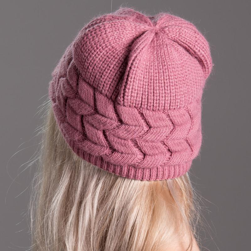 手工针织毛线帽女 冬季中老年人帽子老太太帽冬天妈妈帽双层织花 红色