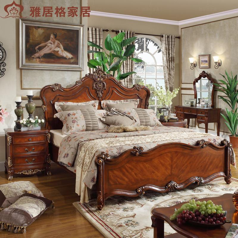 雅居格 美式实木床1.5 1.8米双人床 欧式雕花床 橡胶木婚床 e5301 1.