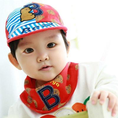 叶子宝宝 婴儿帽子套装宝宝帽加三角巾 b小熊红色 0-36个月